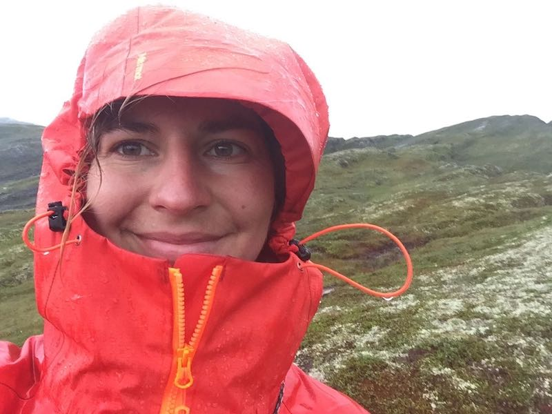 Image showing selfie taken by Majka during a rainy day of hiking in the Stolsheimen area in Norway.