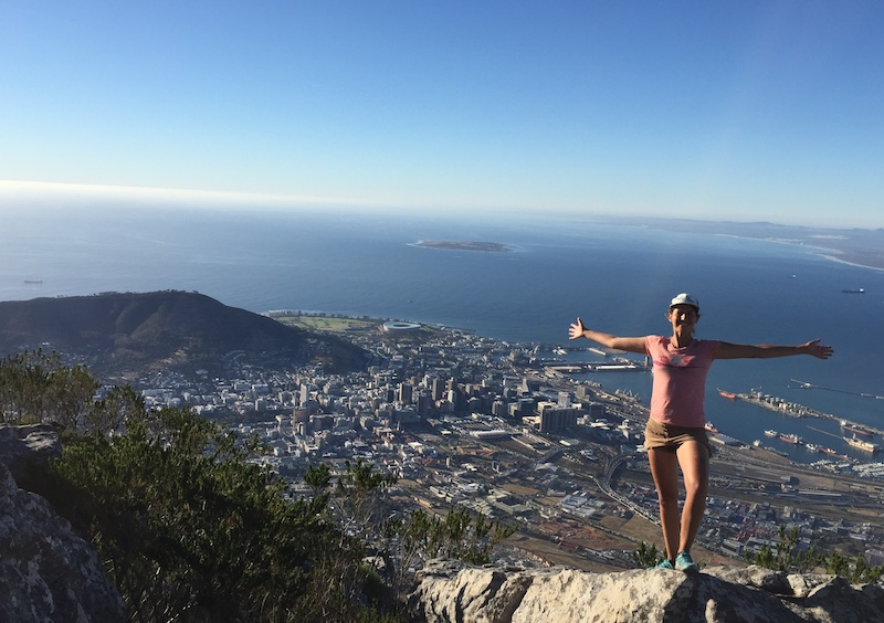 Image of Majka Baur on top of mountain in Cape Town in the beginning of her Life Quest Journey.